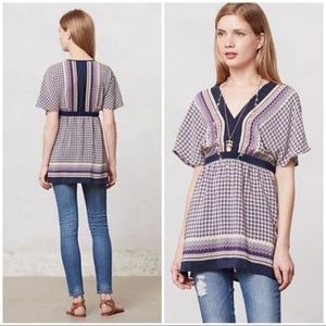 Anthropologie Meadow Rue Print Peasant Blouse XS